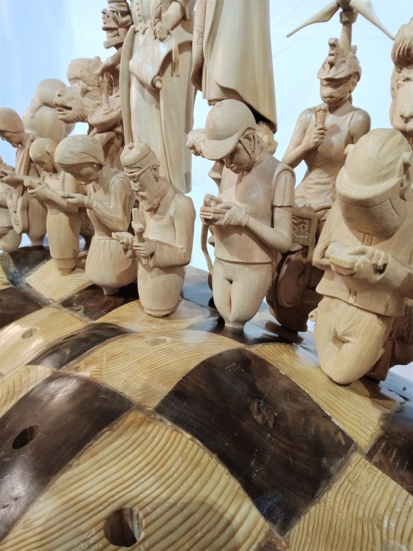 Schach, Schachspiel, Chess, Chessfigures, Schachfiguren, Holzschnitzerei, geschnitzte Schachfiguren, 1000 Hügel Schach, Wassermann Zeitalter, Bucklige Welt, Wechselland, Land der 1000 Hügel, König, Königin